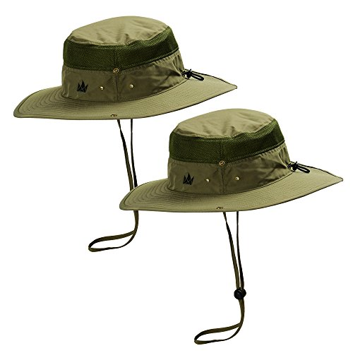 Sun Hats 2-Pack - Safari Hat for Men Women and Children, Boonie Hat, Camping Hat, Fishing Hat, Summer Hat, Gardening Hat by The Friendly Swede (Green) - Happy Hour Invite