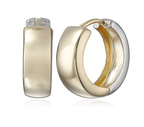 14k Gold-Bonded Sterling Silver Two-Tone Huggie Hoop Earrings