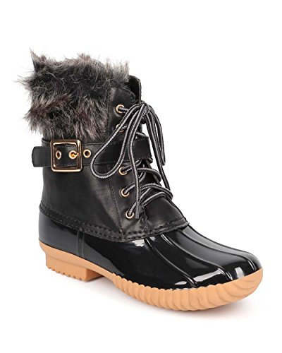 Women's Waterproof Rain Booties Duck Padded Mud Rubber Snow Faux Fur Lace Up Ankle Boots Black - Front Fur Ankle Boot