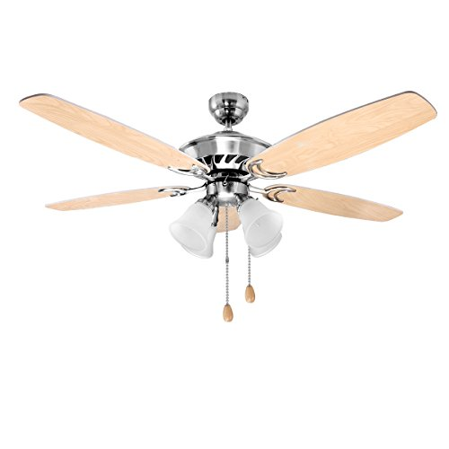 LE 52 Inch Indoor Ceiling Fan with 4 Light Fixture, 5 Wooden White Blades Reversible Classic Light Bowl Kit For Winter Summer Both Use, Perfect for Home Hotel Bedroom Dinning Hall Lobby (UL listed) -