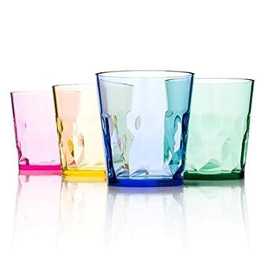 8 oz Premium Juice Glasses - Set of 4 - Unbreakable Tritan Plastic - BPA Free - 100% Made in Japan (Assorted Colors)