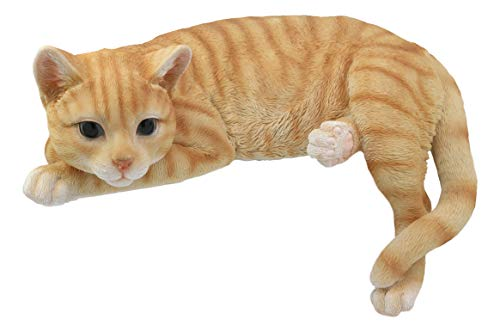 Black Tabby Cat - Ebros Lazy Days Lifelike Perching Orange Tabby Cat Shelf Sitter Statue 13.25