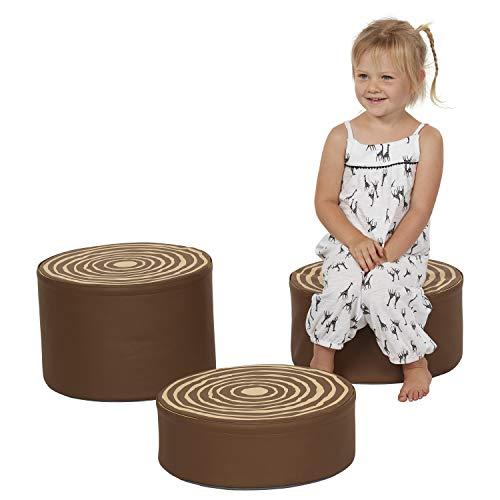 Foam Stool Set - ECR4Kids SoftZone Tree Stump Stool Set - Foam Stools for Kidswith Decorative Log Design (3 Piece Set)