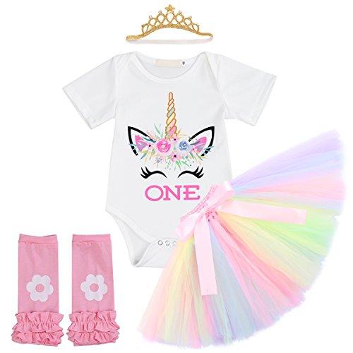 IBTOM CASTLE Girl Newborn It's My 1st Birthday 3/4pcs Outfits Romper+Skirt+Headband(+Leggings) 4pcs White+Crown 6-12 Months