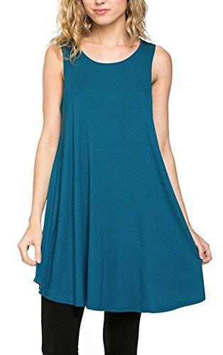 Azules Women's Rayon Span Tank Top Tunic-Solid (Teal) ()