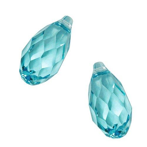 (Swarovski Crystal, 6010 Briolette Pendants 11x5.5mm, 2 Pieces, Light Turquoise)