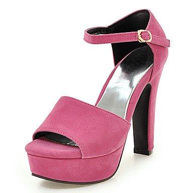 LvYuan Mujer-Tacón Robusto-D'Orsay y Dos Piezas Zapatos del club-Sandalias-Boda Vestido Fiesta y Noche-Semicuero-Negro Rosa Gris Black