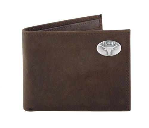 NCAA Texas Longhorns Light Brown Crazyhorse Leather Bifold Concho Wallet, One (Texas Longhorns Pebble Leather)
