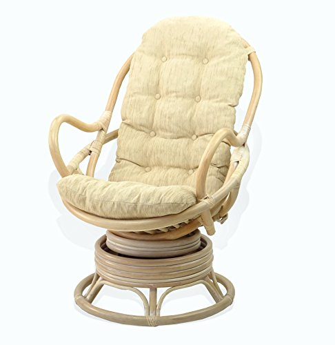 Lounge Swivel Rocking Java Chair Rattan Wicker Handmade with Cream Cushion, White Wash Review