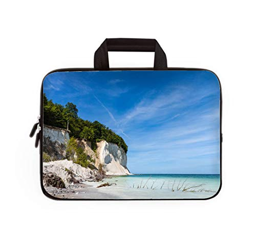 Double Zipper Laptop Bag,Baltic Sea Coast on The Island Ruegen Germany,14 inch Canvas Waterproof Laptop Shoulder Bag Compatible with 14