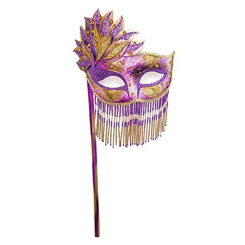 Beyondmasquerade Mardi Gras Masquerade Mask w/ Handheld Stick (Purple)