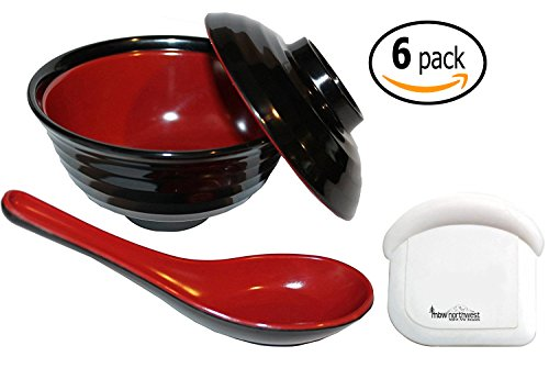 Japanese Rice / Soup Bowl Set with Lid, Spoon, and Pan Scraper, Melamine, Red and Black (6-Pack, 10 Ounce, 4.75 Inch)