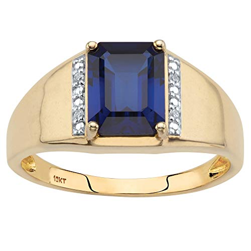 (Men's 10K Yellow Gold Emerald Cut Created Blue Sapphire and Diamond Accent)