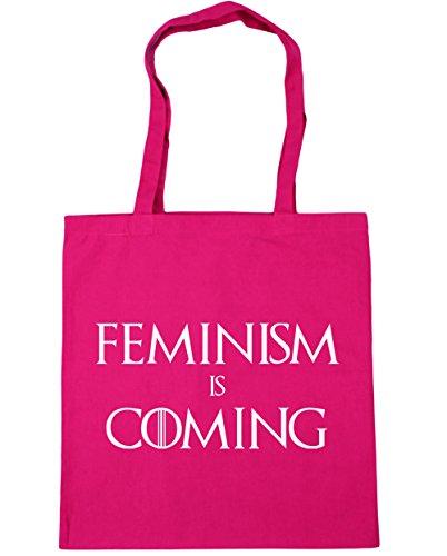 Tote coming 10 Fuchsia Shopping Gym Beach litres Bag is 42cm Feminism HippoWarehouse x38cm vxqtwEO7E