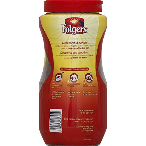 Folgers Classic Roast Instant Coffee Crystals - 16 Oz (Pack of 2)