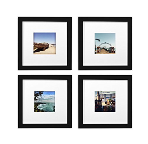 Golden State Art, Smartphone Instagram Frames Collection,Set of 4, 8x8-inch Square Photo Wood Frames with White Photo Mat & Real Glass for 4x4 - Square Black Frames