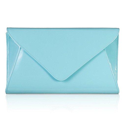 zarla dama de patente embrague bolsas de novia Party–Sobre para Mujer Noche UK Azul - Mint Blue