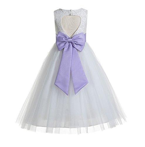 ekidsbridal Floral Lace Heart Cutout White Flower Girl Dresses Lilac First Communion Dress Baptism Dresses 172T - Lilac Dress Floral