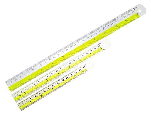DrWritting 6 & 8 & 12 Inch Aluminum Ruler Colorful Pack of 3 Bulk Stationary Tool Kit Set for Kids School Classroom Office Art Design Drawing with Conversion Tables cm mm inches Easy to Read
