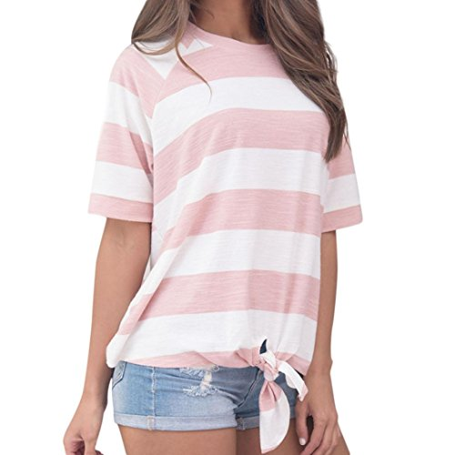 Forthery Women Casual Stripe Knot T-Shirt Short Sleeve Tunic Tops Blouse Clearance Sale(Pink, XL)