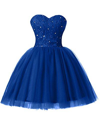 Brautjungfernkleid A Herz Applikation Ausschnitt Gorgeous Cocktailkleid Blau Modern Linie Mini Partykleid Bride Tuell z1qzOXgBx