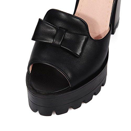 AllhqFashion Mujeres Peep Tacón ancho Hebilla Sólido con Lazos Sandalia Negro