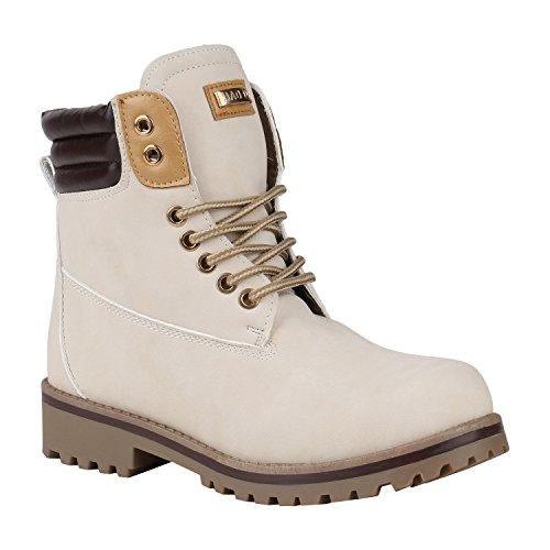 Stiefelparadies Damen Stiefeletten Worker Boots mit Blockabsatz Metallic Profilsohle Flandell Creme Braun