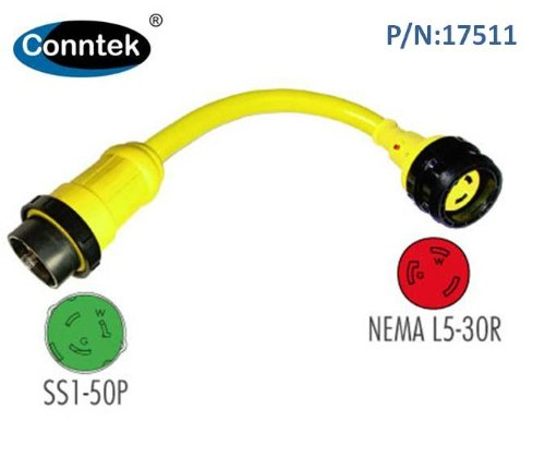 Conntek Marine Shore Pigtail Adapter Cord 50 Amp 125 Volt Shore Male Plug To 30 Amp Shore Female Connector