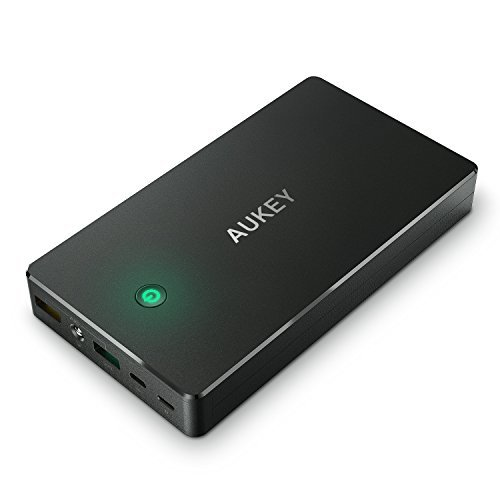 AUKEY 20000mAh Portable Charger with Quick Charge 3.0 Power Bank, Lightning & Micro Input Dual-USB Output Battery Pack for Samsung Note 8 / S8
