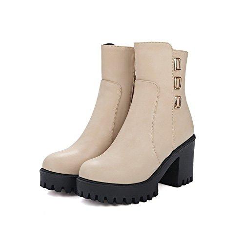 AgooLar Women's Zipper Round Closed Toe High-Heels PU Low-top Boots Beige GXe3ba7v