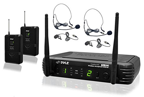 8 Channel Wireless Microphone System - Portable UHF Digital Audio Mic Set with 2 Headset, 2 Lavalier lapel, 2 Transmitter, ¼'' cable, power adapter - For Karaoke, PA, DJ, - - Diversity Receiver Dual Microphone Wireless