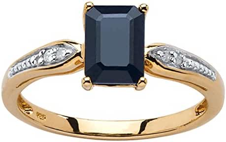 Emerald-Cut Genuine Midnight Blue Sapphire 18k Gold over .925 Silver Ring