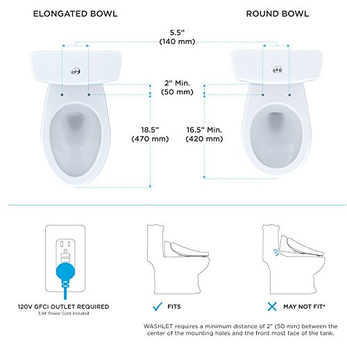 TOTO SW583#01 S350e WASHLET Electronic Bidet Toilet Seat with Auto Open and Close and EWATER+ Cleansing, Round, Cotton White