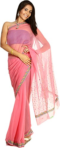 Exotic India Aurora-Pink Striped Sari with Floral Embroidered Border and Bootis (Pink Indian Sari Adult Costume)