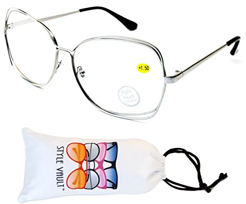 E3074-vp Style Vault Metal Double Frame Butterfly Readers (E3146G +1.50 Silver, mirrored)