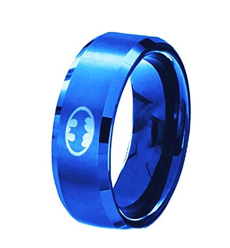 FeixingJewelry USA 8MM Polished Blue Batman Symbol Ring Titanium Stainless Steel Men Ring Band - Batman Of Ring