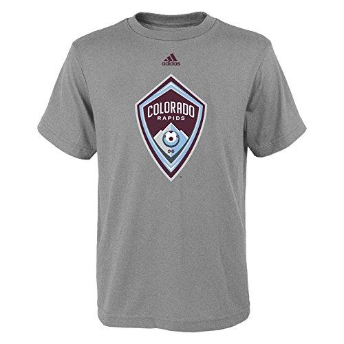 fan products of MLS Colorado Rapids Boys -Primary Logo Short sleeve Tee, Heather Grey, Medium (10-12)
