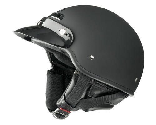 Raider Deluxe Open Face Helmet (Flat Black, Medium)