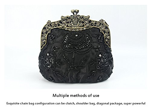 Beaded Handmade Bag Bags Fashion Clutch Cross Women's Wristlet Red LLXY Shoulder Body Evening Vintage Small AUEYqwxI