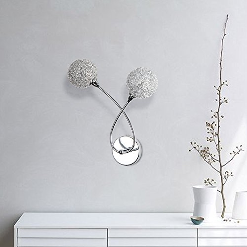 Glass Wall lamp ELINKUME 2 Head Aluminum Ball Wall Lamp Modern Luxury Glass Wall Sconce Lamp, Clear Glass Aluminum Lampshade, G9 Bulb Socket not Included Plug-In Wall Light by ELINKUME (Image #4)