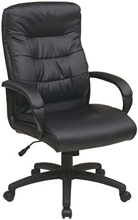 Office Star Padded Faux Leather Seat and High Back Executive Chair