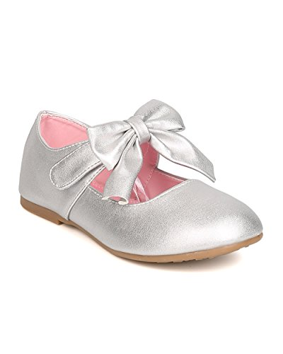 (Alrisco Girls Metallic Leatherette Round Toe Bow Tie Mary Jane Flat FH47 - Silver (Size: Toddler 10))
