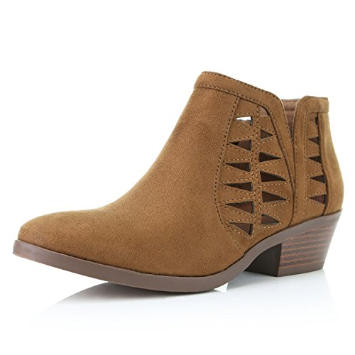 DailyShoes Women's Low Heel Cutout Ankle Boot Perforated Boots Short Slip On Flats Sole Toe Casual Fashion Winter Zip Up Bootie Cognac,sv,7.5