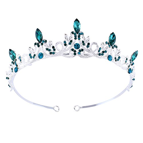 (Emerald Retro Crystal Tiara Rhinestones Flower Crown for Women Silver Plated Hair Accessories)