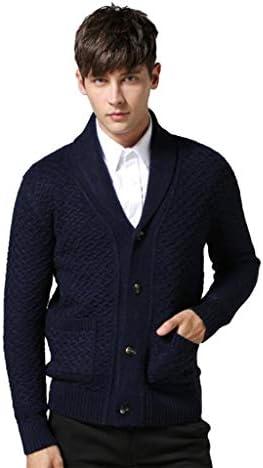 暖かいニットウェアスリムフィット ポケット付きメンズニットカーディガン長袖ファッションショールカラーセータージャケット 大きいサイズ (Color : B, Size : M)