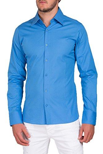 Libre Hombre Larga Modelo Fit Camisa Bodas Tiempo Para Slim Trajes Azul Manga Estándar wY1qp