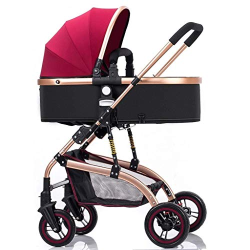 659874555 JFDKDH City Four Rounds Bidirectional Prams,fold Baby Pushchairs Travel Systems High Landscape Toddlers Newborn Strollers Can Sit and Lie Down from Birth (Color : Red)
