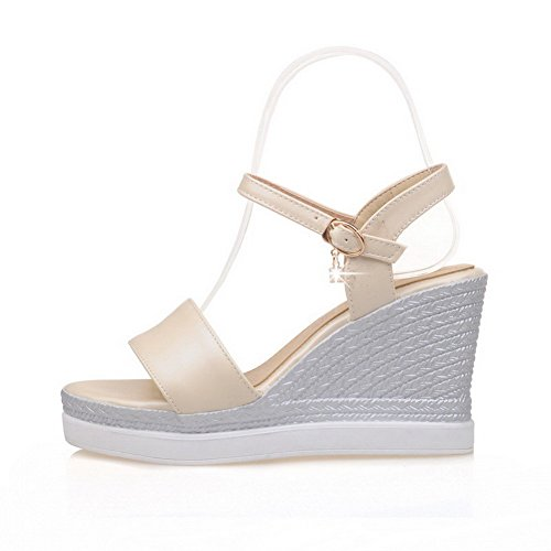 AllhqFashion Women's PU Solid Buckle Open Toe High-Heels Platforms & Wedges Beige 9lctSzeu