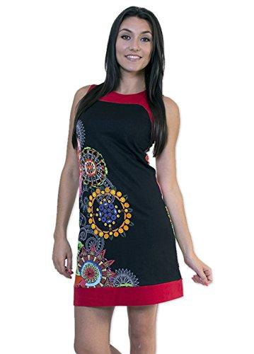Coton Du Monde-vestido de AMALIA, color negro Multicolor