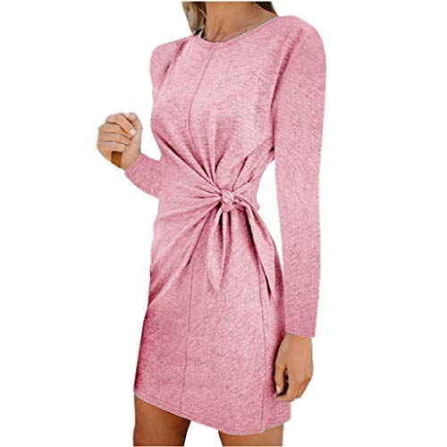 Sunhusing Women's Solid Color Round Neck Casual Long Sleeve Pleated Waist-Tie Bow Knotted Mini Short Dress ()